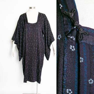 1950s Silk Lounge Kimono Robe Michiyuki Japanese Jacket by dejavintageboutique