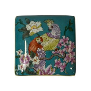 Contemporary Teal Flower Painting Square Porcelain Box - Jewelry Box ws1173E by GoldenLotusAntiques
