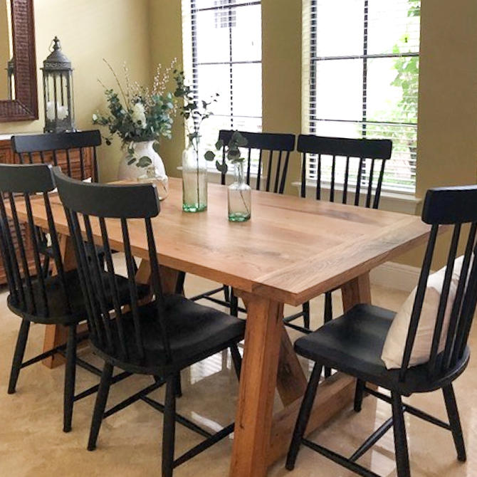 Trestle Table / Farmhouse Dining Table made from Reclaimed Wood / Solid Wood Kitchen Table by wwmake