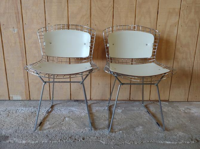 Vintage Chrome Harry Bertoia Side Chairs w Leather Cushions - Set of 2 by ModandOzzie