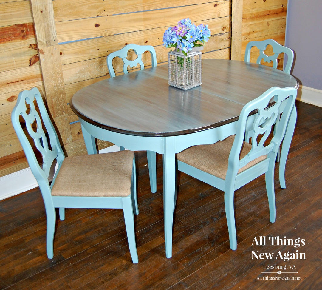 Dining Table and Chairs | Dining Set | Vintage Duck Egg Blue ...