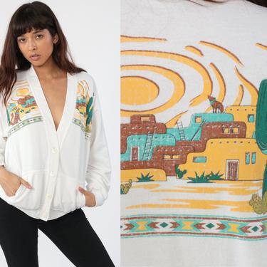 Southwest Cardigan Sweatshirt 80s Saguaro Cactus Shirt Coyote Southwestern Print Sweater Boho 90s Vintage Bohemian Button Up Small Medium by ShopExile