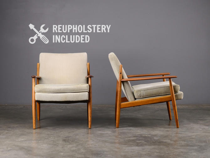 Pair of Mid Century Lounge Chairs Teak Danish Modern by MadsenModern