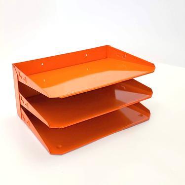 Tanker Desk Organizer Mail Sorter Letter Holder Orange Office Decor Inbox Bill Slot File Box Metal Desktop Filing System Home Business by MakingMidCenturyMod