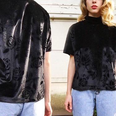 Vintage 90s Las Vidas Black Velvet On Velvet Rose Pattern Mock Turtleneck Grunge Short Sleeve Stretch Blouse Shirt M/L by VernasVintageShop