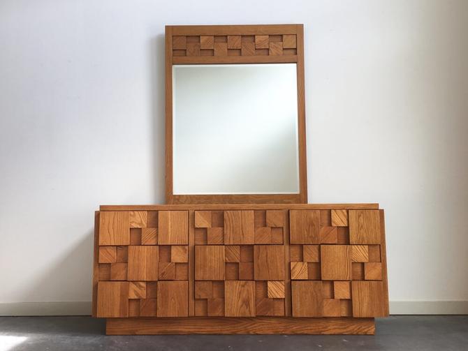 vintage mid century brutalist lowboy dresser with mirror by Lane.