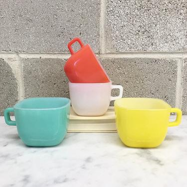 Vintage Mug Set Retro 1950s Glasbake for Lipton + Set of 4 +Various Colors + Square Shape + Milk Glass  + Cups + Servingware + Kitchen Decor by RetrospectVintage215