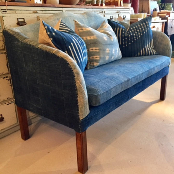 "Vintage African indigo settee, 4.5"" long, $595."