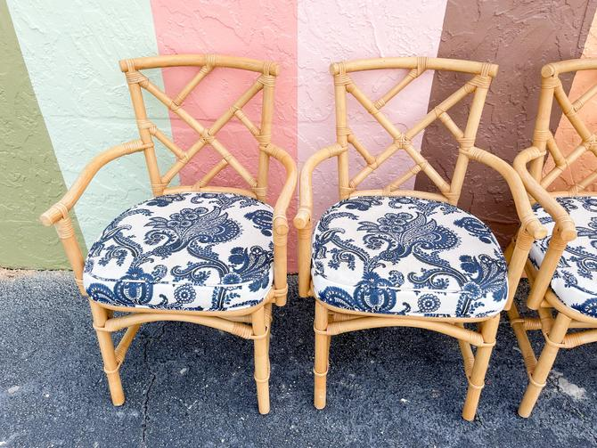 Pair of Ficks Reed Rattan Chippendale Arm Chairs