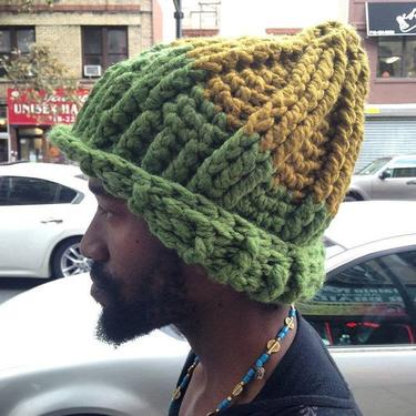 The Seven Ski Hat in Grass & Gold/Chunky Winter Hat/Soft Chunky Wool Winter Hat by KonjoCrochet