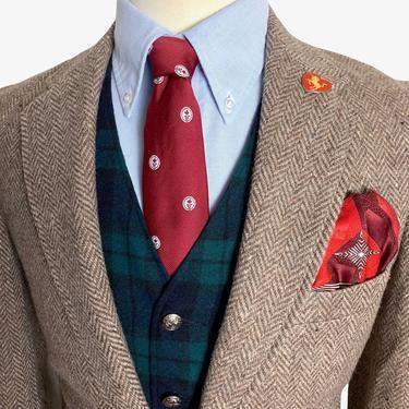 Vintage LEVI'S 100% Wool DONEGAL TWEED Blazer ~ 36 Short to Regular ~ Herringbone jacket / sport coat ~ Preppy / Ivy League / Trad by SparrowsAndWolves