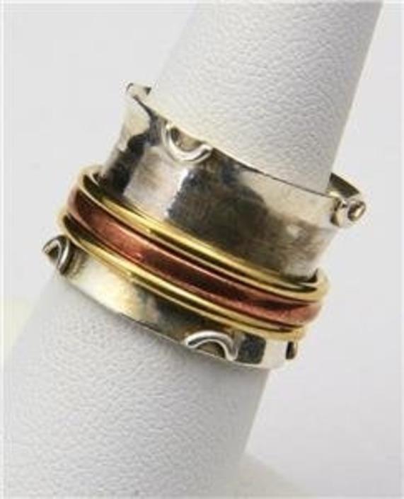 Vintage Artisan Spinner Slide Band Ring Silver Copper Brass Half Moon Design Size 7 by HouseofVintageOnline