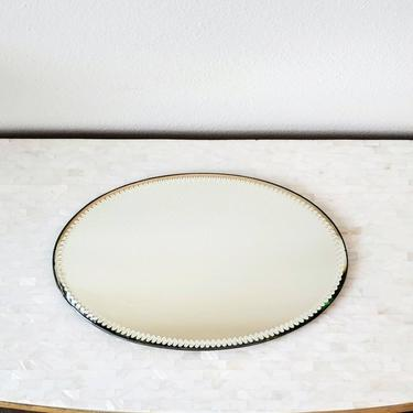 19th Century English Victorian Footed Beveled Cut Edge Mirror Plateau - Tray or Wall by LynxHollowAntiques