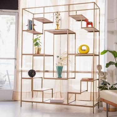 Multi Layer Walnut Gold Metal Shelf