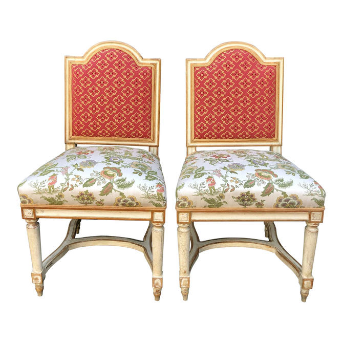 Pair of Antique Louis XVI Style Maison Jansen Side Chairs by ThriveDecor