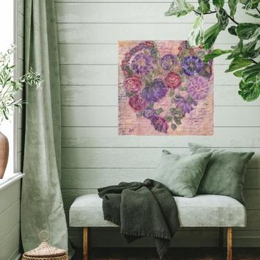 Hearts of Flowers Whimsical Canvas Wall Art ~ Floral Hearts ~ Floral Wall Canvas Art ~ Abstract Floral Art ~ Garden Flowers ~ Mix Media Art by DareToBeVintage