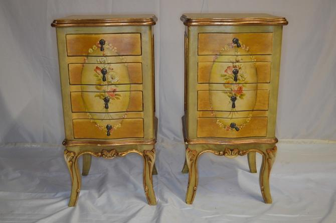 Antique French Provincial Hand Painted 4 Drawer Side Tables Nightstands