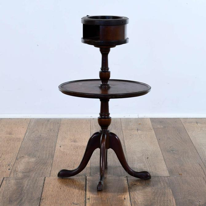 Queen Anne Smoking Table W Ashtray & Cigarette Storage