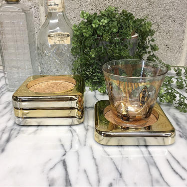 Vintage Coaster Set Retro 1980s Servemates by Culver + Set of 4 + Gold Tone + Plastic and Cork + Home and Table Decor by RetrospectVintage215