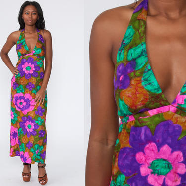 Floral Halter Dress 70s Hawaiian Backless Neon Psychedelic Print Maxi Hippie Halter Neck 1970s Open Back Vintage Sundress Small by ShopExile