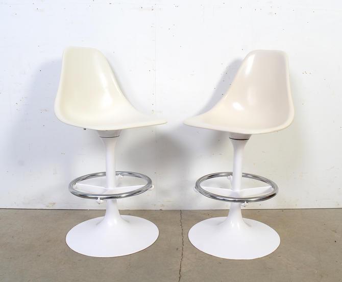 Eero Saarinen White Tulip Based Bar Stools Pair of Stools Mid Century Modern by HearthsideHome