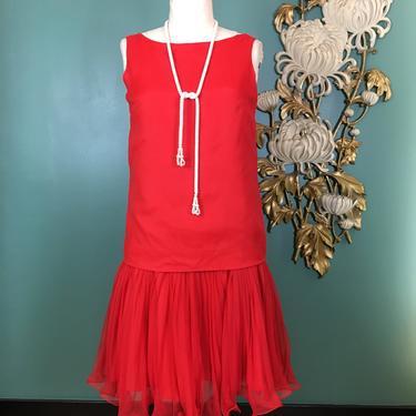 1960s drop waist dress, vintage 60s dress, red chiffon dress, eve le coq, flapper dress, 80s does 20s, 1920s style dress, ruffled hem, 34 by BlackLabelVintageWA