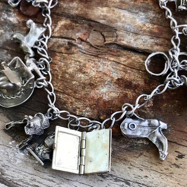 Vintage Sterling Silver Charm Bracelet Loaded 15 Charms Some Movable Charms Western Theme 3D Retro Style One Of a Kind OOAK by FlyTimesVintage