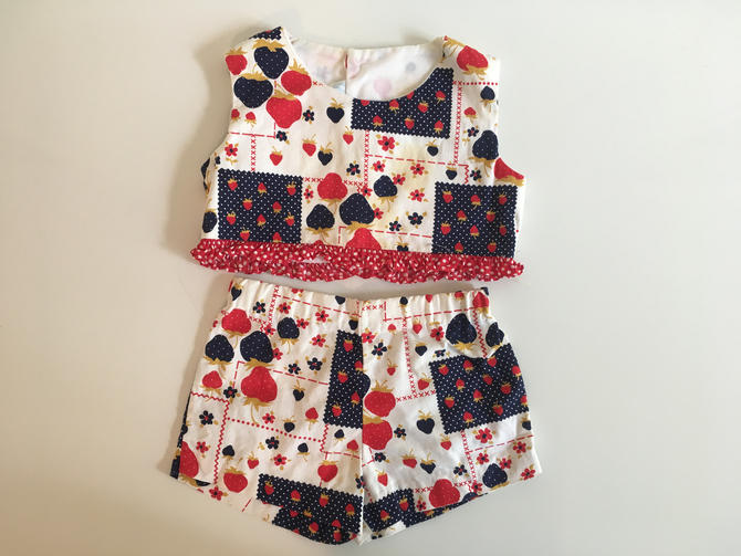 Vintage Children's Strawberry Top Bloomers Lord & Taylor Grace Kid's Sleeveless Girl's Red Ruffles Polka Dot Children Playsuit Blue White by CheckEngineVintage
