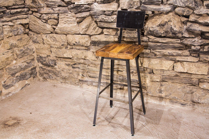 FREE SHIPPING - Brew Haus Industrial Style Bar Stools with Scooped Backs - Great for restaurants, bars and cafes! by BarnWoodFurniture