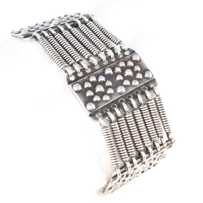 Latvian Silver Flower Link Bracelet