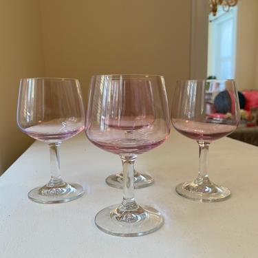 Pink Short Wine Glasses - Set of 4 by AntiquetoChicChicago