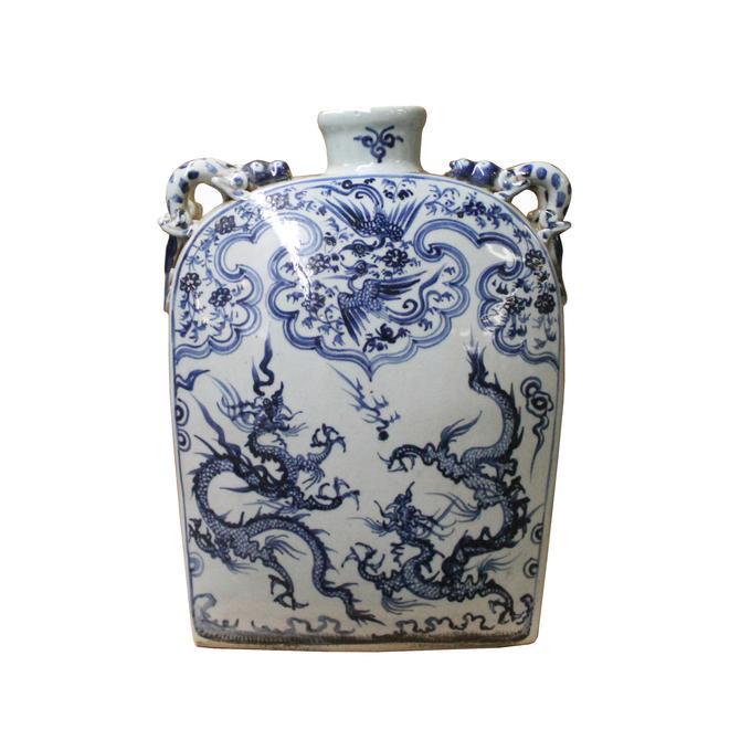 Chinese Blue White Porcelain Dragons Phoenix Square Flat Vase ws1097E by GoldenLotusAntiques