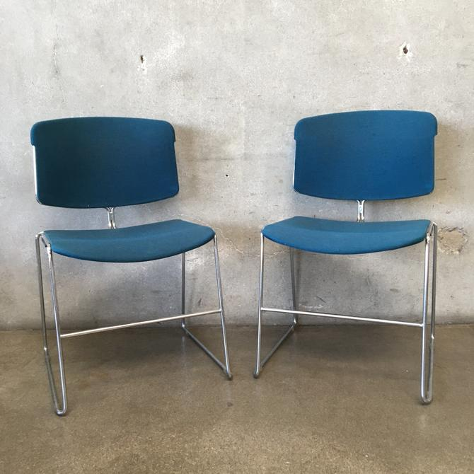 Pair of Chrome & Upholstered Seat Steelcase Chairs