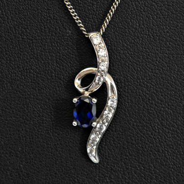 Elegant 60's 925 silver sapphires dainty ribbon bling pendant, lovely blue & white sapphires in sterling romantic twist necklace by BetseysBeauties