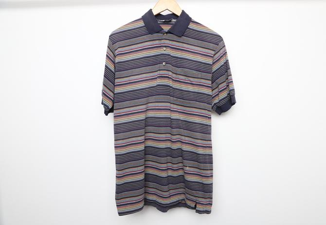 vintage men's 1990s micro STRIPED men's henley polo GOLF shirt -- size medium -- distressed condition by CairoVintage