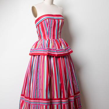 1980s Striped Dress | Victor Costa by FemaleHysteria