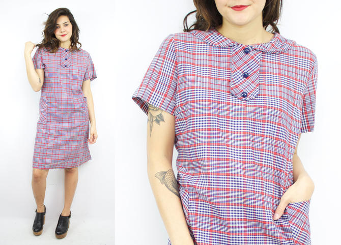 Vintage 60\'s Red and Blue Plaid Shift Dress / 1960\'s House Dress / Peter  Pan Collar / Fall Dress / Women\'s Size XL / Plus Size 1X/2X by ...
