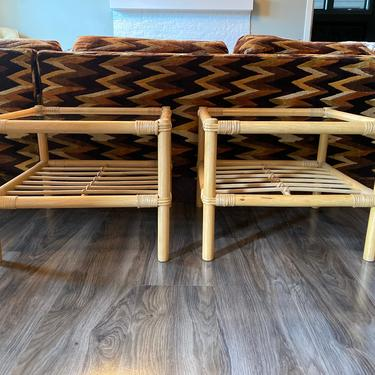 Vintage 1970s Rattan with Glass End Low Tables or Nightstands by DesertCactusVintage
