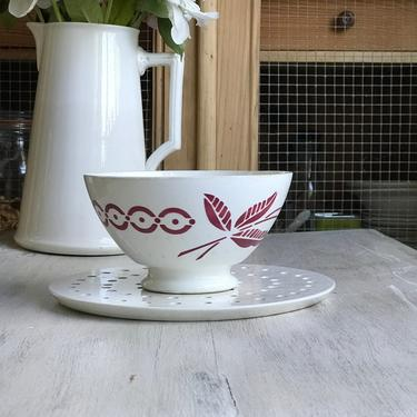 Beautiful Huge vintage French ironstone cafe au lait bowl by Grainsacfrenchvintag