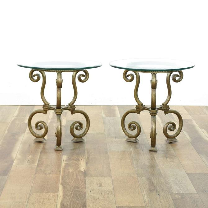 Pair Of Small Scrolled Metal End Tables W Glass Top