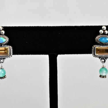 Dainty 70's Byzantine Bali 925 sterling silver, pointed oval opal, citrine rectangle, blue green tourmaline bead bling stud dangle earrings by BetseysBeauties