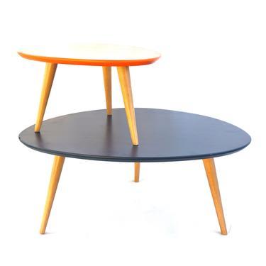 MidCentury Modern Amoeba Shaped Navy Blue Birch Wood Legged Low - Mid century modern corner table