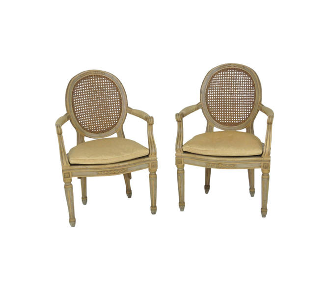 Pair Antique Louis XVI Style Painted & Caned Fauteuils from Vintage ...