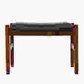 Danish Modern Rosewood Ottoman / Stool with Black Upholstery