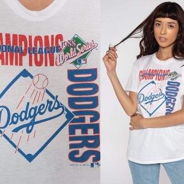 1988 DODGERS Shirt Baseball T Shirt LA Dodgers TShirt Los Angeles California 80s MLB Champions Retro Graphic Vintage 1980s Tee Small Medium by ShopExile