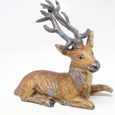 Antique German Metal Reindeer Hand Painted, Toy Lead Deer for Christmas Putz or Nativity Creche by exploremag