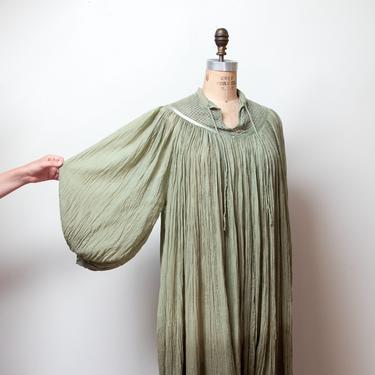 1970s Ombre Moss Green Gauze Dress by FemaleHysteria