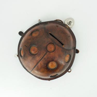 Leather Ladybug Locking Purse Jewelry Box NO KEY Vintage Mid-Century Modern Studio Craft by CabinModernist