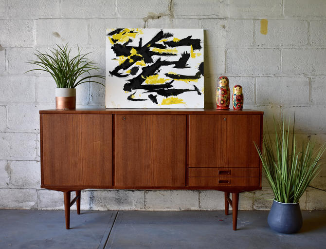 Apartment Sized Mid Century MODERN DANISH Teak CREDENZA media stand by CIRCA60