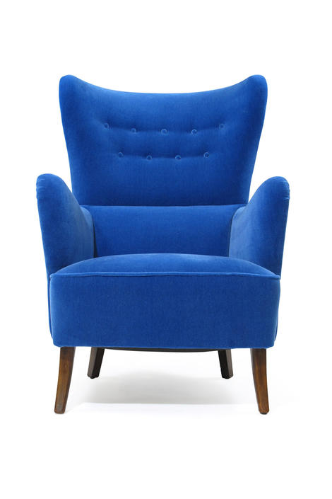 1950's Highback Lounge Chair in Blue Mohair